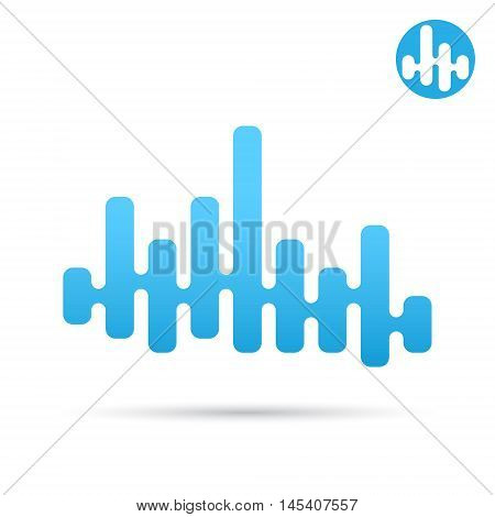 Equalizer bar with soft transitions between the waves eq logo sign 2d vector icon eps 10