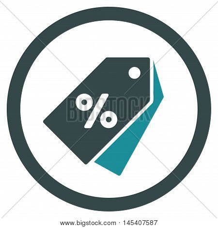 Percent Discount Tags rounded icon. Vector illustration style is flat iconic bicolor symbol, soft blue colors, white background.
