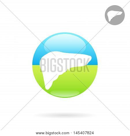 Liver organ flat icon 2d vector logo on colored plate eps 10