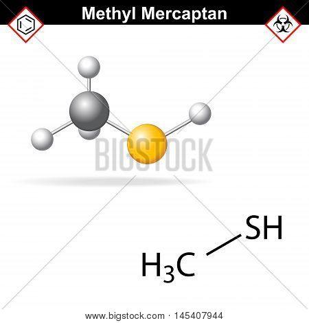 Methyl mercaptan molecule odorant of natural gas 2d and 3d illustration vector eps 8