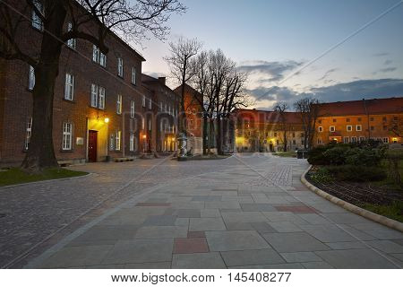 KRAKOW, POLAND - APRIL 04, 2015: Buildings in Wawel castle complex in Krakow on April 04, 2015.