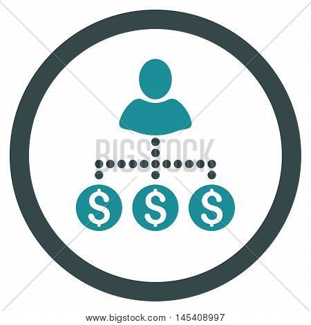 User Payments rounded icon. Vector illustration style is flat iconic bicolor symbol, soft blue colors, white background.