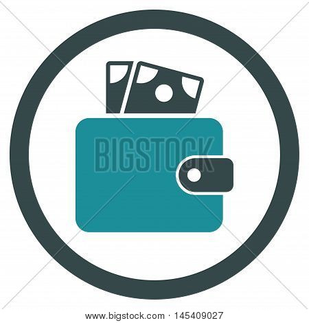 Wallet rounded icon. Vector illustration style is flat iconic bicolor symbol, soft blue colors, white background.