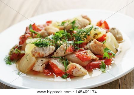 braised chicken fillet with squash and bell pepper, russian cuisine