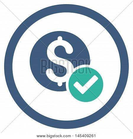 Approved Payment rounded icon. Vector illustration style is flat iconic bicolor symbol, cobalt and cyan colors, white background.