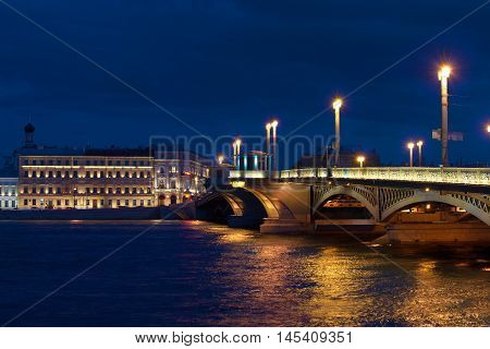 Summer night near the Annunciation bridge. Saint Petersburg, Russia