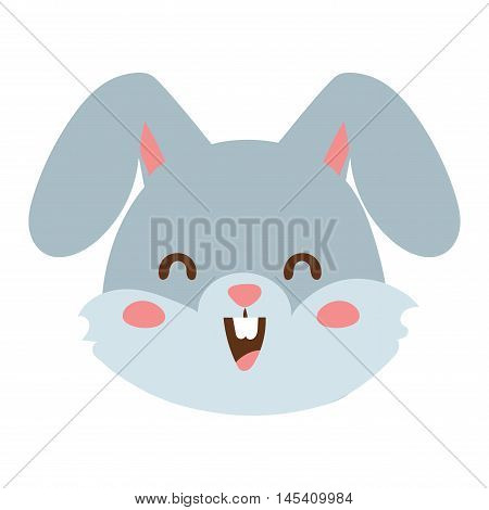 Cute animal rabbit head emotion vector avatar. Cartoon happy rabbit animal emotion expression isolated face character. Adorable mammal emojji avatar animal emotions. Animal rabbit character