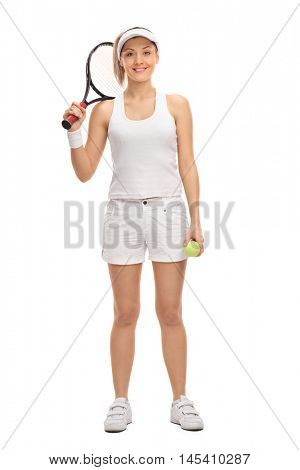 Female tennis player holding a racquet and a tennis ball isolated on white background
