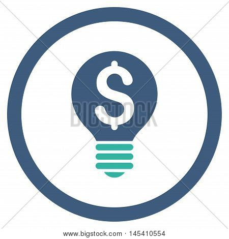 Business Patent Bulb rounded icon. Vector illustration style is flat iconic bicolor symbol, cobalt and cyan colors, white background.