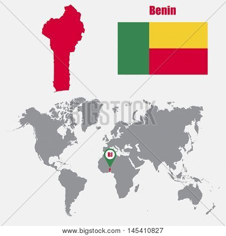 Benin map on a world map with flag and map pointer. Vector illustration