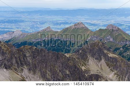 landscape with mountains in slovakia, high tatras, view of the earth from a great height, three and a half kilometers above the ground