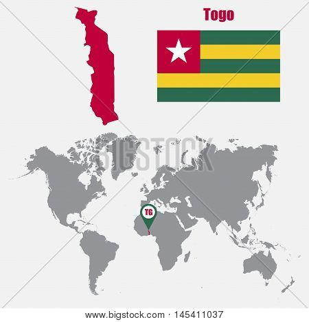 Togo map on a world map with flag and map pointer. Vector illustration