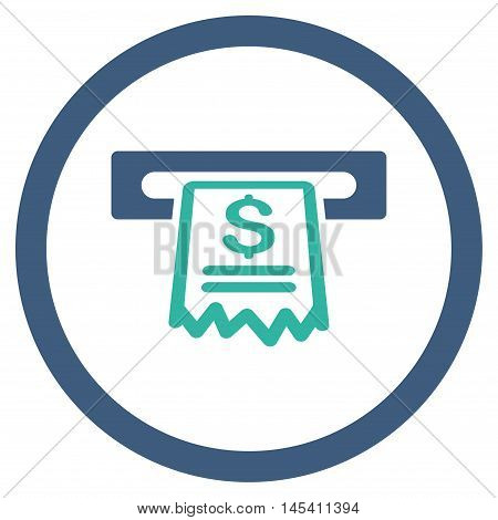 Cashier Receipt rounded icon. Vector illustration style is flat iconic bicolor symbol, cobalt and cyan colors, white background.