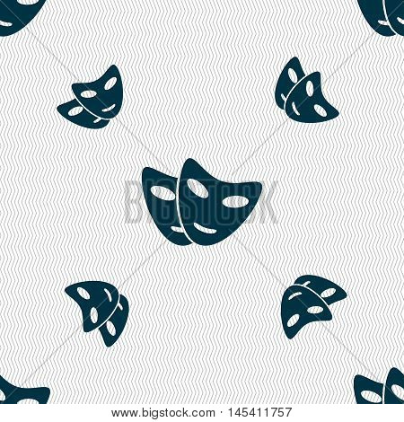 Mask Icon Sign. Seamless Pattern With Geometric Texture. Vector