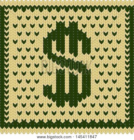 Knitted dollar green beige scheme vector EPS8