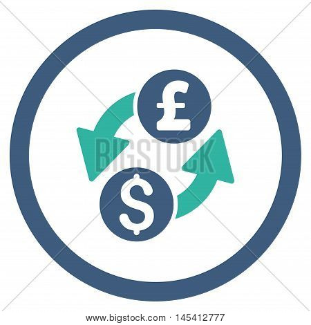 Dollar Pound Exchange rounded icon. Vector illustration style is flat iconic bicolor symbol, cobalt and cyan colors, white background.