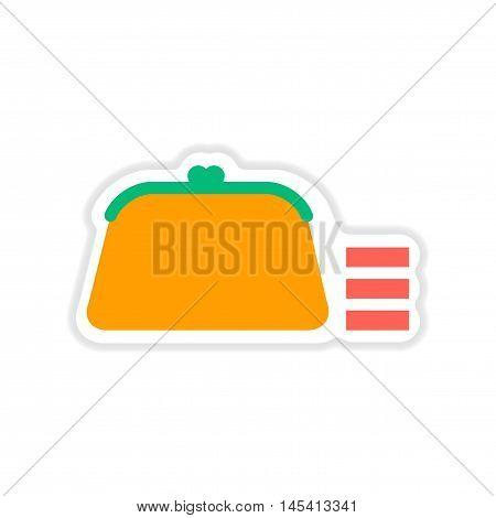 paper sticker on white  background coin purse