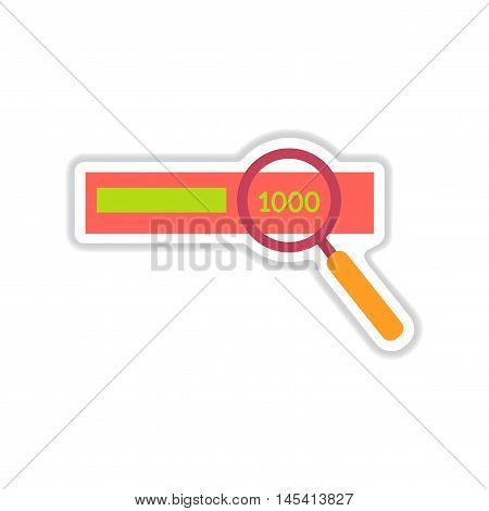 paper sticker on white  background money search, vector