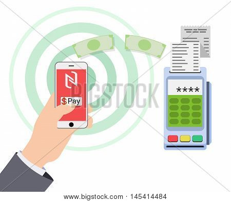 Mobile payments and near field communication. Vector illustration