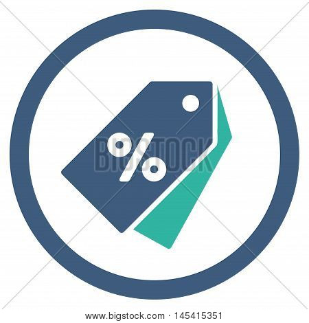 Percent Discount Tags rounded icon. Vector illustration style is flat iconic bicolor symbol, cobalt and cyan colors, white background.