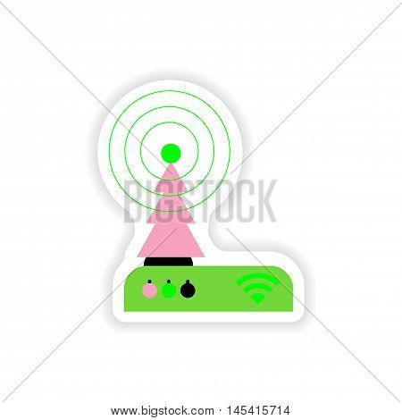 paper sticker on white background   Wi-Fi router, vector