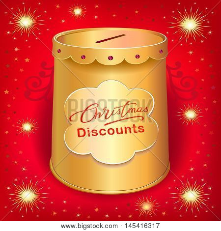 Xmas discounts holiday moneybox tin can template isolated on red joy background. Image contains transparencies gradient meshes and blends