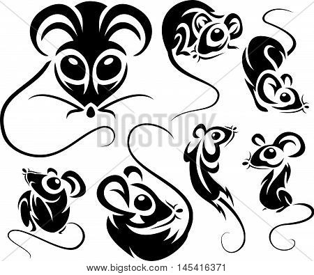 Set Of Cartoon Black Mice