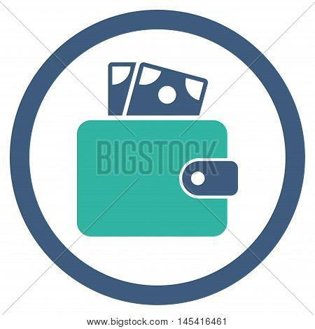 Wallet rounded icon. Vector illustration style is flat iconic bicolor symbol, cobalt and cyan colors, white background.