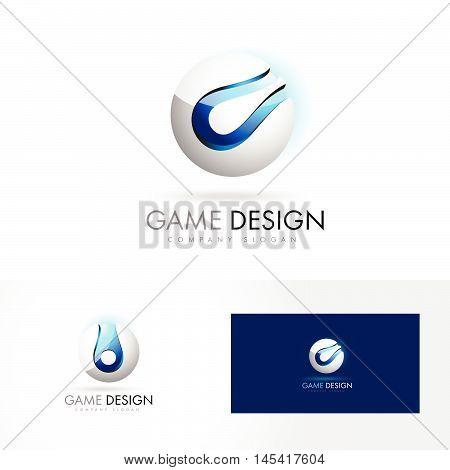 3D Sphere Logo Design Vector. Blue Silver 3D Sphere Sphere Vector Gaming Logo