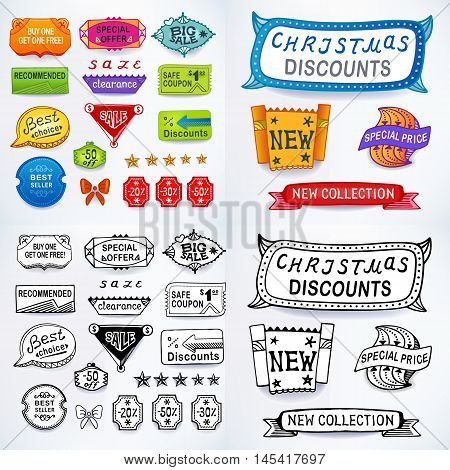 Colored & black-white set of promotional sales english text labels signs stickers. Image contains gradients blends and gradient meshes