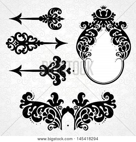 Vector Set Of Vintage Elements In Victorian Style.