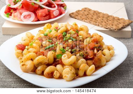 Cooked Pasta Cavatappi With Stewed Vegetables Sauce