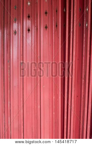 Close Up Antique Slide Steel Door, Old Style Of Closed Red Steel Door, Little Rusty On Steel Door, F