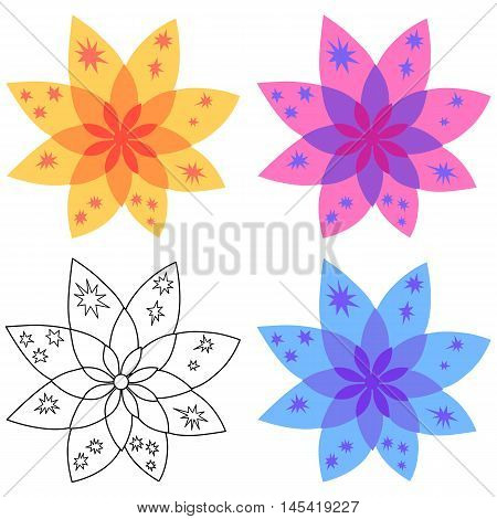 Bethlehem star cookie design (colored & black outlined) vector illustration isolated on white background