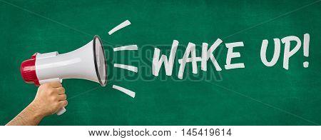 A Man Holding A Megaphone - Wake Up