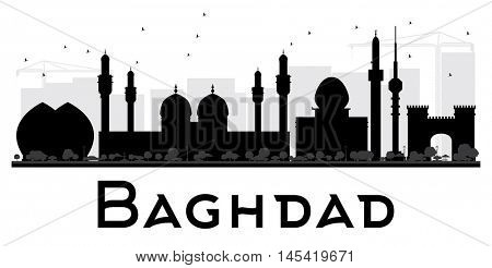 Baghdad City skyline black and white silhouette. Simple flat concept for tourism presentation, banner, placard or web site. Business travel concept. Cityscape with landmarks