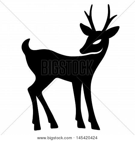 Marvellous fawn with interest looks aside (silhouette) design for Xmas cards banners and flyers vector illustration isolated on white background