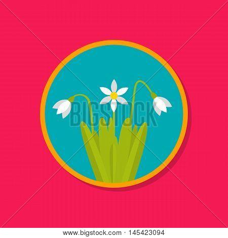 Snowdrop spring flower. March April. Snowdrop day. Flat design
