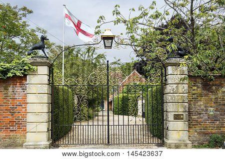 Salisbury, UK - August 03, 2015: openwork gates to Malmesbury House on August 03, 2015 in Salisbury, England