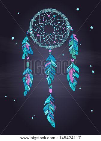 Vector Ethnic Dreamcatcher Amulet. Ethnic illustration, tribal simbol
