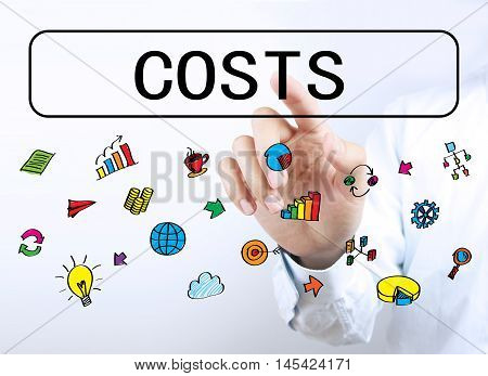 Businessman Touching Costs Button