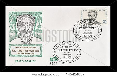 GERMANY - CIRCA 1975 : Cancelled First Day Cover letter printed by Germany, that shows Albert Schweitzer.