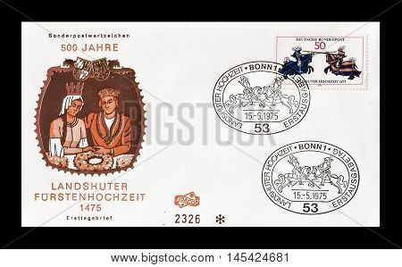 GERMANY - CIRCA 1975 : Cancelled First Day Cover letter printed by Germany, that shows Knights.