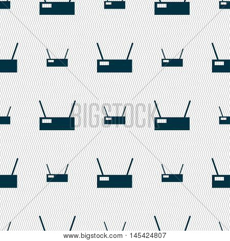 Wi-fi Icon Sign. Seamless Pattern With Geometric Texture. Vector