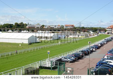 CHESTER, UK - SEPTEMBER 1, 2015: Chester race course on a hot sunny day, photograph taken from a public footpath, Chester, Cheshire, UK