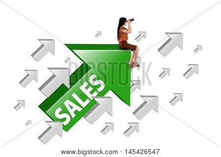 Female entrepreneur looking through binocular while sitting on the green upward arrow with sales word