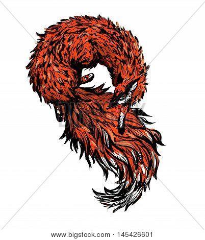 Vector fox tail and fur. Fox Tee Shirt design. illustration.