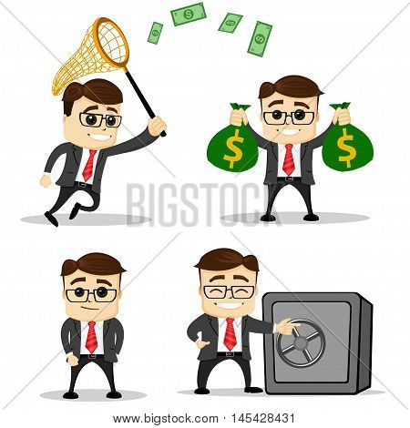 Set of cute characters businessman and office worker poses. Vector. Manager character. Safe. Banking worker. Money. Net.