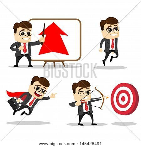 Set of cute characters businessman and office worker poses. Vector. Manager character. Archer. Target. Arrow. Hero. Set of manager character in various poses.