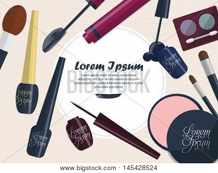 Collection Of Female Cosmetics For The Eyes On A Table With Space For Your Advertising. Vector